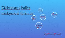Efektyvaus kalbų mokymosi tyrimas