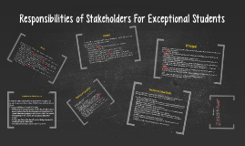 Responsibilities of Stakeholders For Exceptional Students