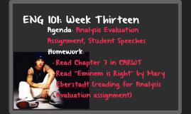 ENG 101: Week Twelve