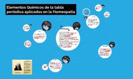Elementos químicos de la tabla periódica aplicados en la Hom