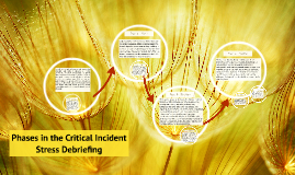 Phases in the Critical Incident Stress Debriefing