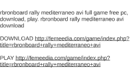 rbronboard rally mediterraneo avi full game free pc, downloa
