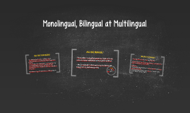 Monolingual, Bilingual at Multilingual