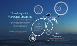 Teaching in the Plurilingual Classroom