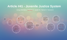 Article #41 - Juvenile Justice System