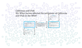 U.S. History-California and Utah