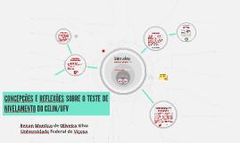 Concepções e Reflexões Sobre o Teste de Nivelamento do CELIN/UFV