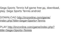 Sega Sports Tennis full game free pc, download, play. Sega S