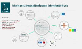 Criterios para la Investigación del proyecto de investigació