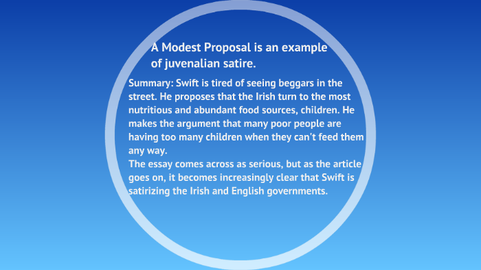 Satire On Jonathan Swift S A Modest Proposal By Acacia Morrell