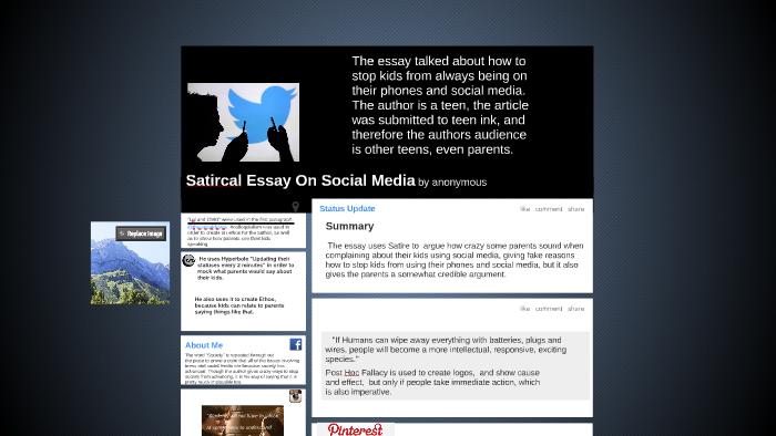 Satirical Essay On Social Media By Sarah Wagenfehr On Prezi