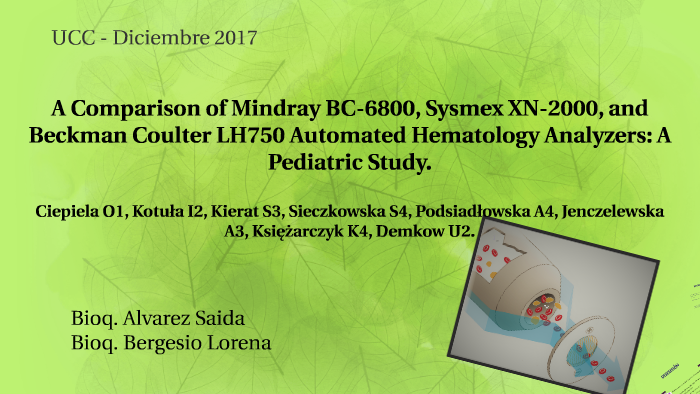A Comparison of Mindray BC-6800, Sysmex XN-2000, and Beckman by