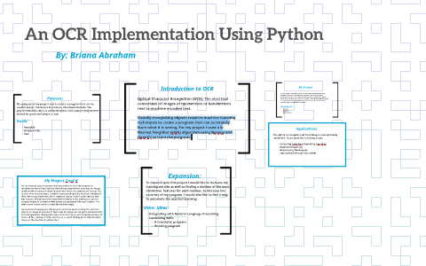An OCR Implementation Using Python by Briana Abraham on Prezi