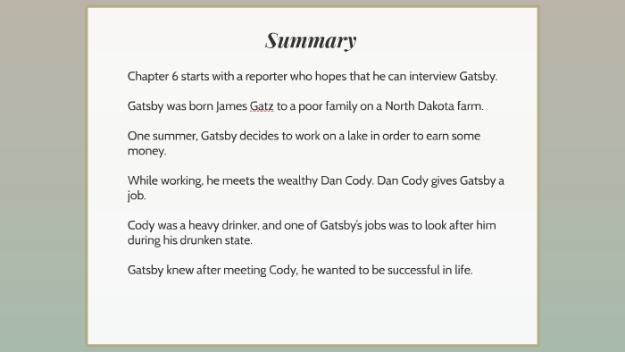 Copy of The Great Gatsby: Chapter 6 by Ellie Abbott on Prezi
