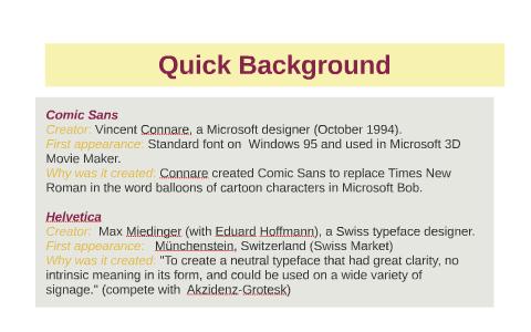 Comic Sans vs Helvetica by Lakai Legg on Prezi