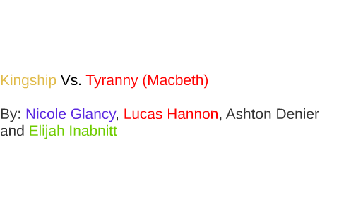 macbeth kingship vs tyranny essay