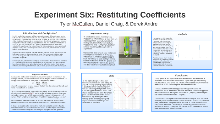 Experiment 6 Coefficient Of Restitution By Derek Andre