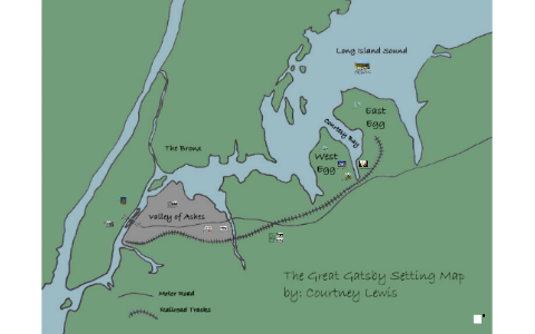 The Great Gatsby Map The Great Gatsby Setting Map by Courtney Lewis on Prezi