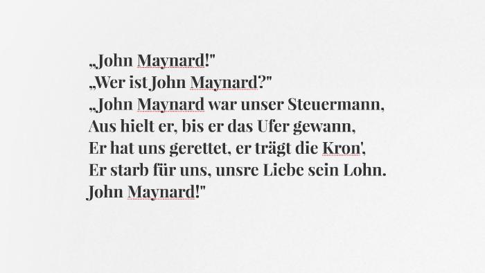 Steuermann unser john gedicht war maynard Balladen lexikon