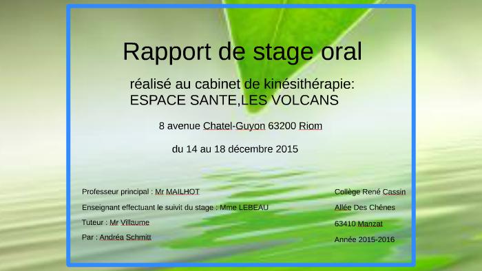 Rapport de stage oral by andrea schmitt