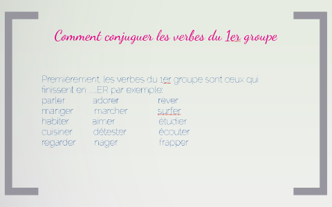 Conjugaison Des Verbes Du 1er Group By Ramon Gutierrez De La Llave On Prezi Next