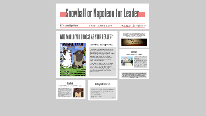 compare snowball and napoleon as leaders