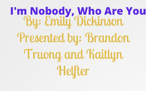 emily dickinson nobody analysis