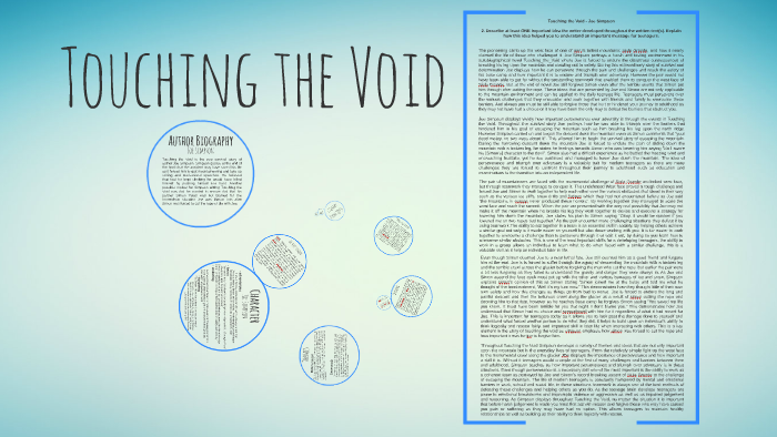 Touching the void essay
