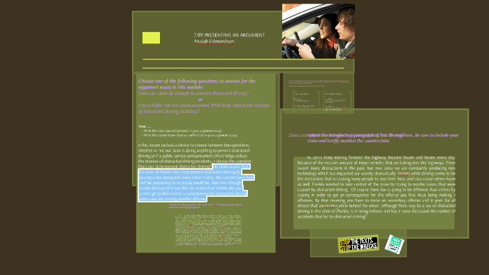 Argumentative essays on cell phone use while driving