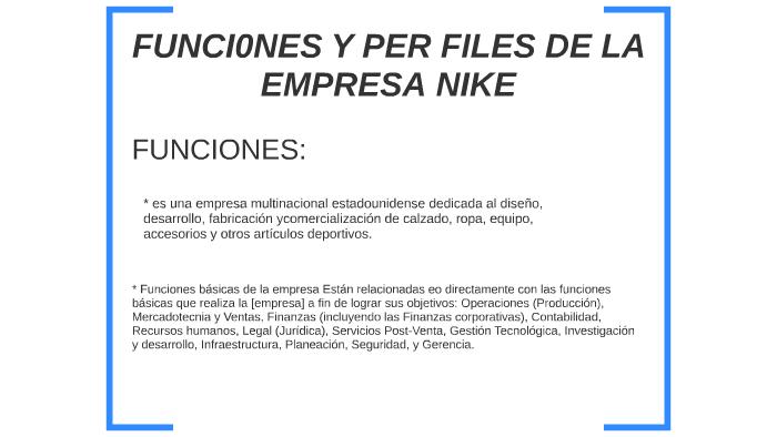 Peticionario Tomate periodista  FUNCIONES Y PERFILES DE LA EMPRESA NIKE by juan andres pardo ...