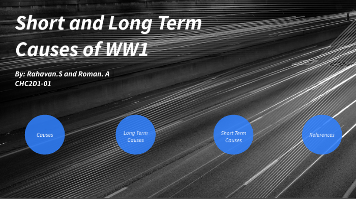 short term causes of ww1