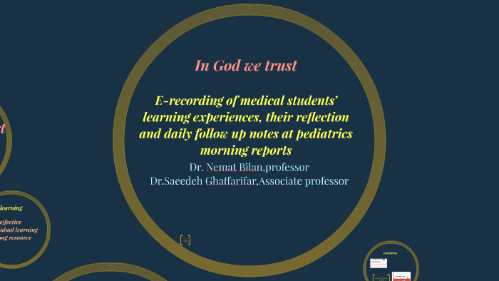 E-recording of medical students' learning experiences, their