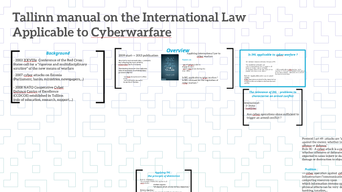 Tallinn manual on the International Law Applicable to Cyberw by