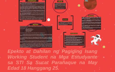 Epekto at Dahilan ng Pagiging Isang Working Student na Mga E