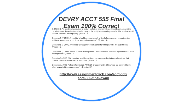 DEVRY ACCT 555 Final Exam 100% Correct by reena singh on Prezi