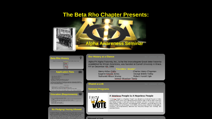 The Beta Rho Chapter of Alpha Phi Alpha Fraternity's by