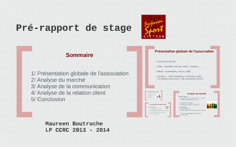 Pré Rapport De Stage By Maureen Btrch On Prezi