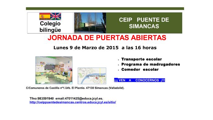 Jornada de puertas abiertas 2015 CEIP Puente de Simancas by ...