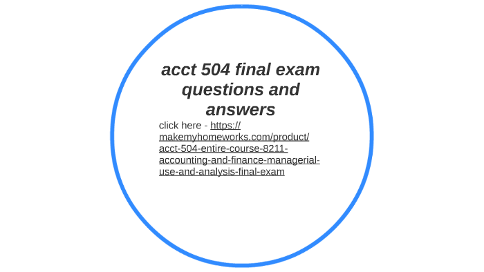 accounting 504 final exam answers