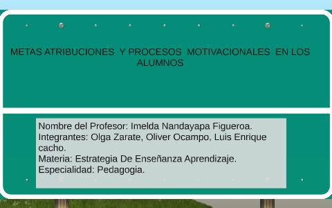 Metas Atribuciones Y Procesos Motivacionales En Los Alumn By