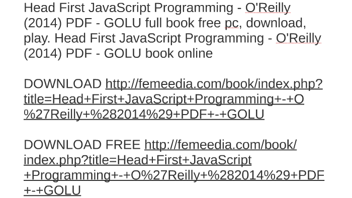 Head First Javascript Programming O 039 Reilly 2014 Pdf Go By