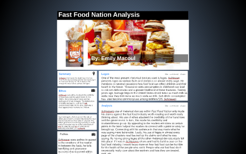 fast food nation rhetorical examples