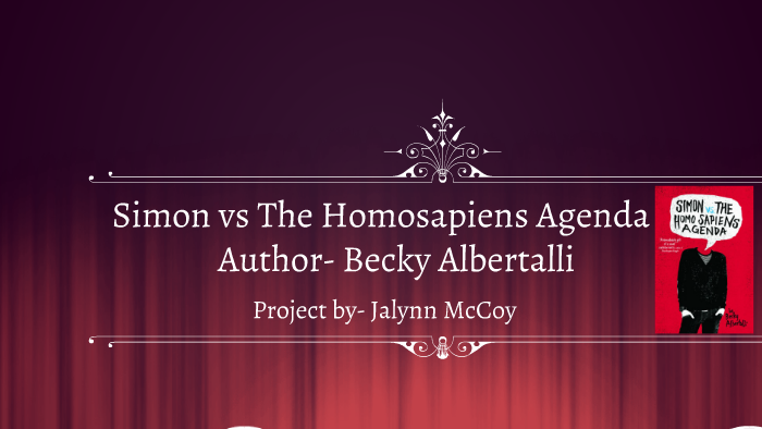 Simon Vs The Homosapiens Agenda Ssr Reading Project By Jalynn Mccoy