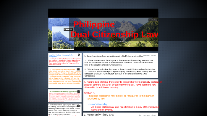 Philippine Dual Citizenship Law by arturo boligao on Prezi
