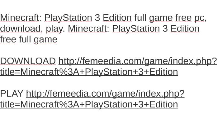 minecraft ps3 free