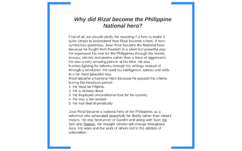 Why Did Rizal Become The Philippine National Hero By Stephanie  Why Did Rizal Become The Philippine National Hero By Stephanie Tubbs On  Prezi Apa Format Sample Paper Essay also Abortion Essay Thesis  Essay On High School