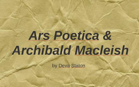 ars poetica archibald macleish