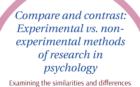 experimental and nonexperimental research methods in psychology