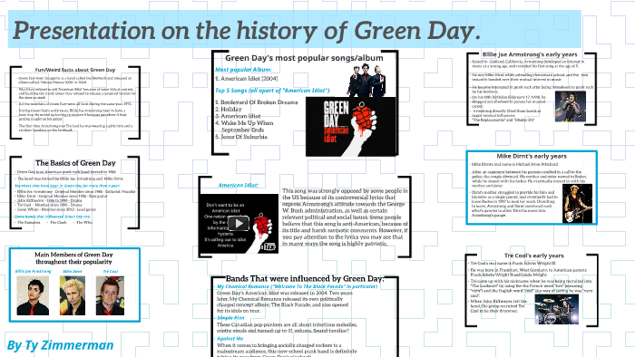 Presentation on the history of Green Day  by Ty Zimmerman on