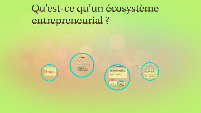 Quest Ce Quun écosystème Entrepreneurial By Kassal Hammad On Prezi